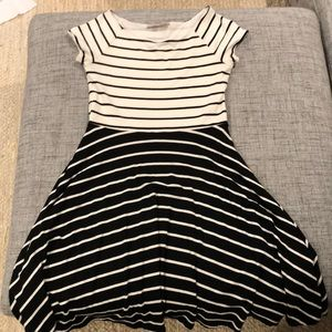 Fit and flare stripped dress